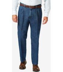 haggar men's big & tall stretch denim classic-fit pleated pants