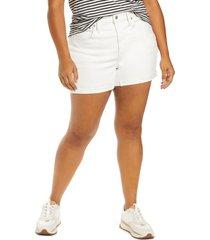 plus size women's madewell high rise denim shorts, size 18w - white