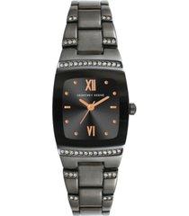 geoffrey beene women's gunmetal metal alloy bracelet watch, 32 mm