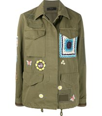 amiri multi-patch military shirt - green