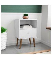 mesa de cabeceira móveis bechara mb2014 1 gaveta 1 nicho branco