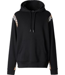 burberry vintage check panel hoodie - black