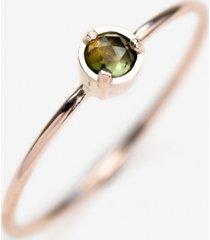pierścionek z różowego złota z zielonym turmalinem