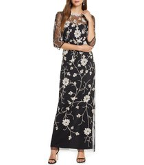 women's js collections beaded & embroidered column gown, size 8 - black