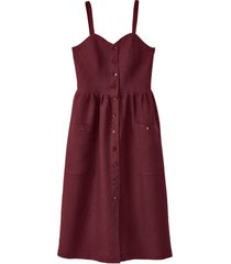 linnen jurk met spaghettibandjes, granaat 40