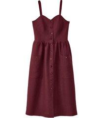 linnen jurk met spaghettibandjes, granaat 38