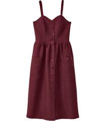 linnen jurk met spaghettibandjes, granaat 34