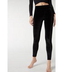 calzedonia velvet leggings woman black size m