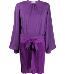 msgm tie-waist lurex knit dress - purple