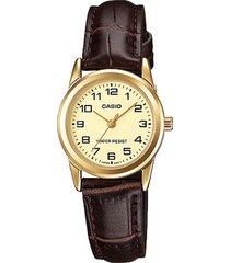 reloj casio ltp_v001gl_9b marrón cuero