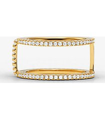 mk anello di supporto in argento sterling con placcatura in metallo prezioso e pavé - oro (oro) - michael kors