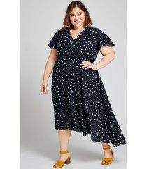lane bryant women's flutter-sleeve fit & flare dress 18/20 navy & white dot