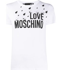 love moschino rain logo short sleeved t-shirt - white