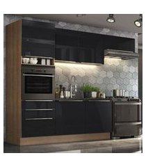 cozinha completa madesa lux com armário e balcáo 6 portas 3 gavetas - rustic/preto marrom