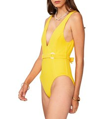 suboo women's ines deep v-neck one-piece swimsuit - yellow - size xs