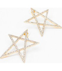 womens off to a flying star-t diamante earrings - gold