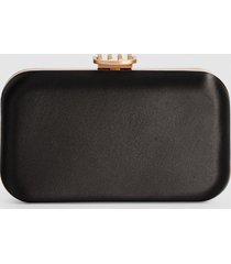 reiss nina - satin box clutch in black, womens