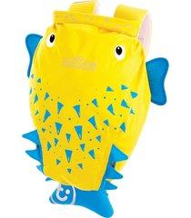 mochila infantil trunki - modelo paddlepak - peixe espinho spike - cor amarelo - kanui
