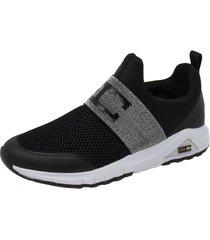 zapatillas de moda mujer deportivas enrico coveri clip lycra negro/gris