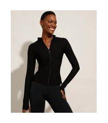 jaqueta texturizada esportiva ace com zíper gola alta preta