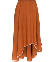 araks zelda asymmetric midi skirt - brown