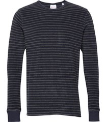 striped velvet sweat - vegan stickad tröja m. rund krage grå knowledge cotton apparel