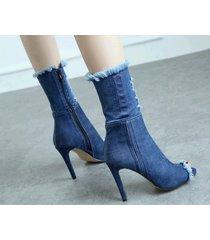 pb185 stylistic denim booties, 10 cm heeel us size 3-10.5, blue