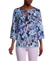 pappagallo women's kelsi coral reef-print blouse - bright navy - size xl