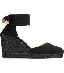 castañer ankle tie 90 espadrilles - black