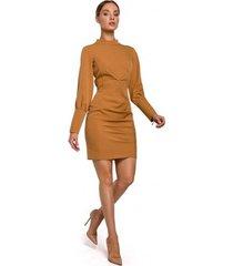 korte jurk moe m546 mini-jurkje met opstaande kraag - kaneel