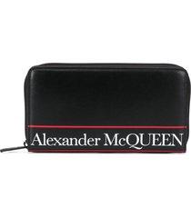 alexander mcqueen lettering logo printed wallet - black