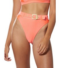 high-waist buckle bikini bottom