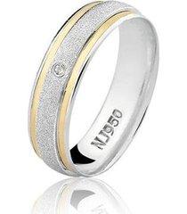 aliança feminina prata 925 com zircônia filete de ouro al39