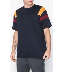 topman navy panelled t-shirt t-shirts & linnen navy