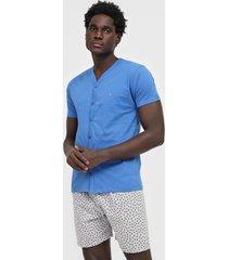 pijama malwee liberta geométrico cinza/azul