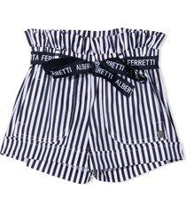 alberta ferretti blue and white cotton blend shorts