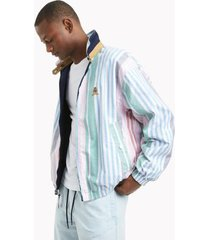 tommy hilfiger men's heritage organic cotton reversible jacket navy / colorful stripes - l