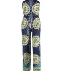 stylish strapless sleeveless loose-fitting printed women's exuma preppy jumpsuit
