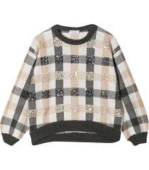 brunello cucinelli checked sweater