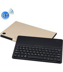 desmontable teclado bluetooth ultrafino de vidrio templado espejo magnético de cuero caso para huawei mediapad m5 10,8 pulgadas, con el titular (oro)