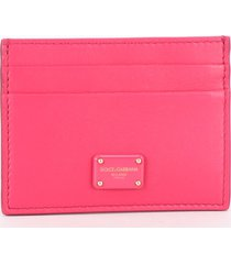 dolce & gabbana fuchsia leather card holder