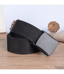 cinturón de hombres, cinturón casual de lona-negro