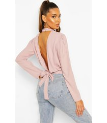 woven open back blouse, mauve