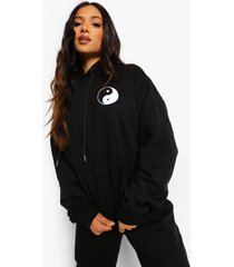 petite oversized yin yang hoodie met zakken, black