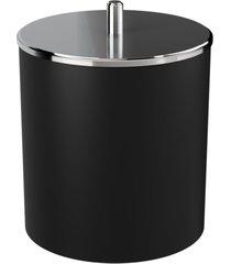 lixeira coza com tampa inox  preta - preto - dafiti