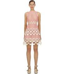 studio 3d floral crochet lace mini dress