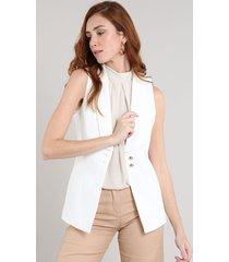 colete feminino com botões off white