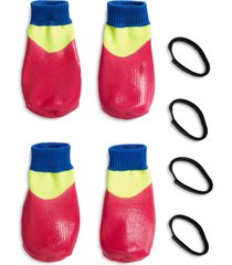 lovethybeast rubber dipped dog socks, size 5 - pink