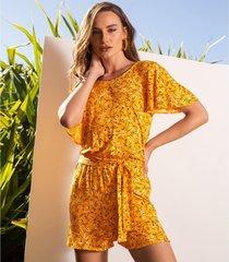 macaquinho feminino floral endless amarelo - amarelo - feminino - dafiti