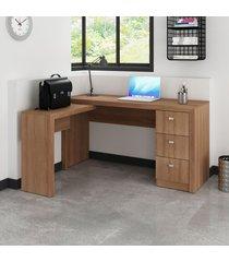 mesa para escritório 3 gavetas amendoa me4101 - tecno mobili